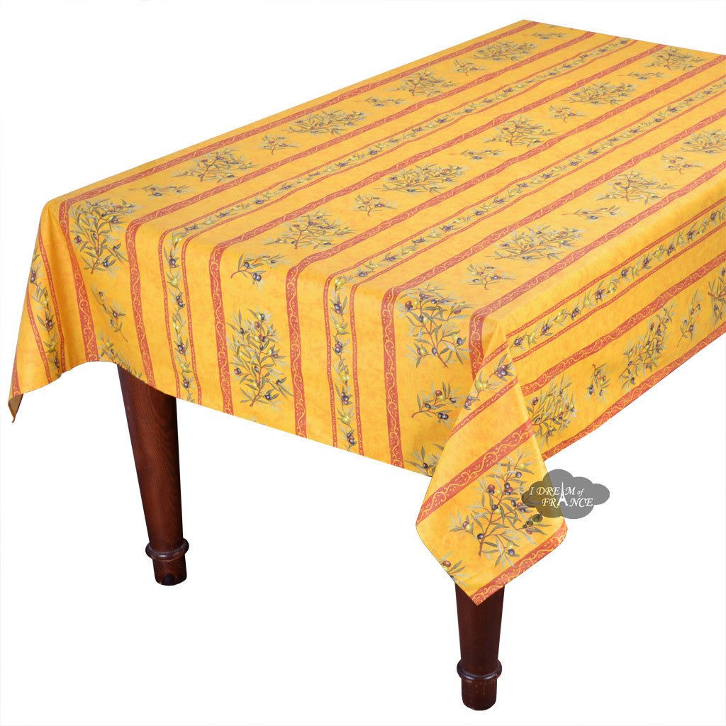 "59"" Square Clos des Oliviers Yellow Coated Cotton Tablecloth"
