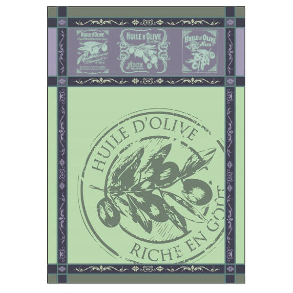 Provence Olive Oil Green French Jacquard Kitchen Towel by Montolivet