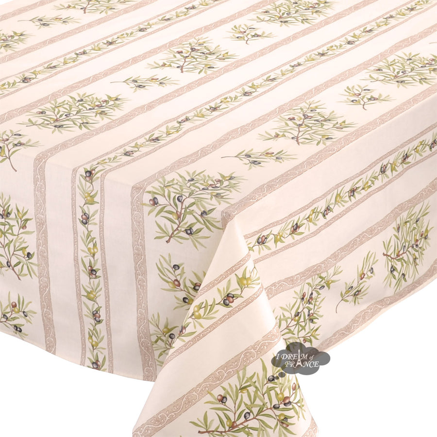 "60x138"" Rect Clos des Oliviers Cream Coated Cotton Tablecloth by Tissus Toselli"