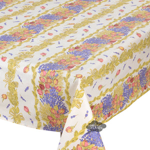 "60x78"" Rectangular Roses & Lavender Acrylic Coated Cotton Tablecloth by Tissus Toselli"
