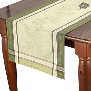 "20x62"" Olive Green Jacquard Cotton Table Runner with Stain Protection"