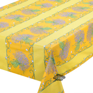 "60x78"" Rectangular Lavender Bouquet Yellow Acrylic Coated Cotton Tablecloth - Close Up"