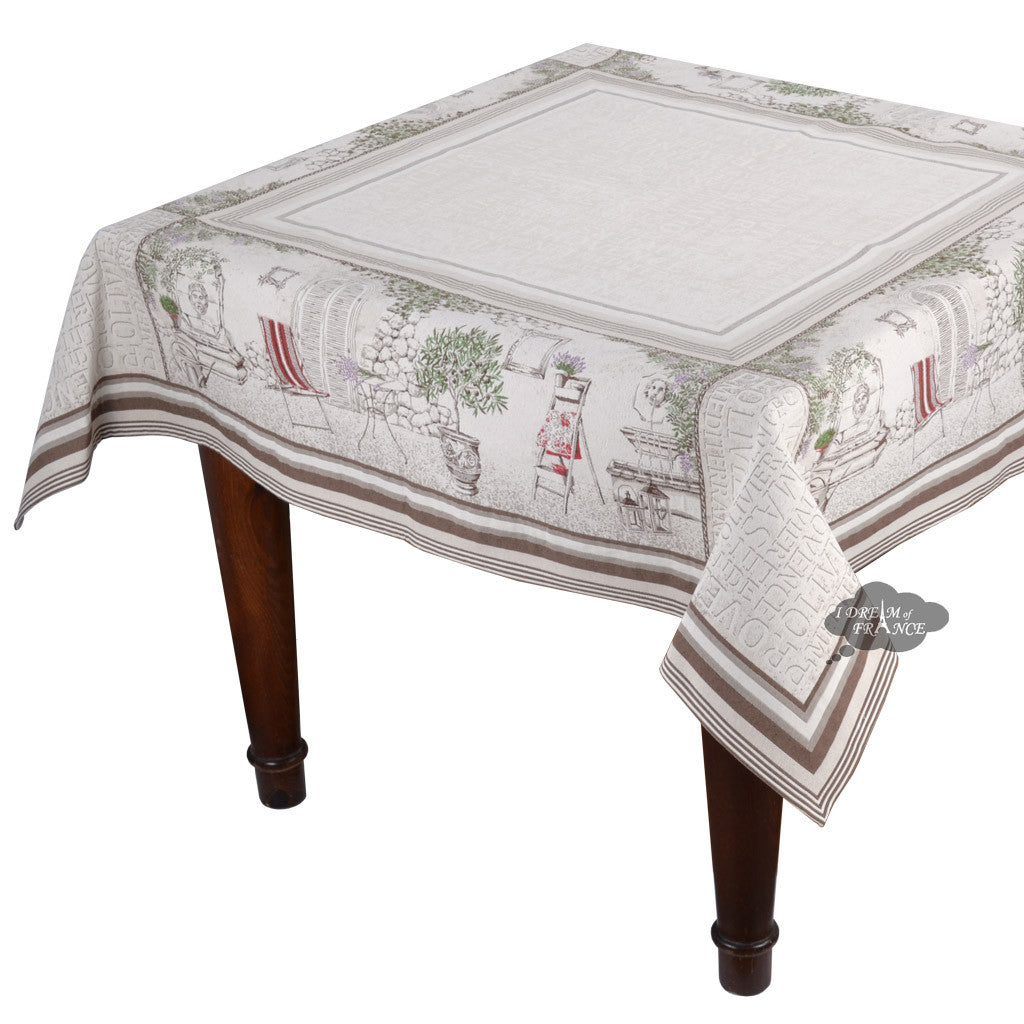 "57"" Square Gordes Tapestry Tablecloth by Tissus Toselli"