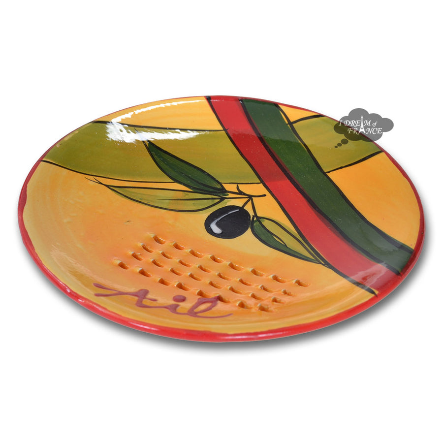 Garlic Grinding Plate - Olives Red & Green