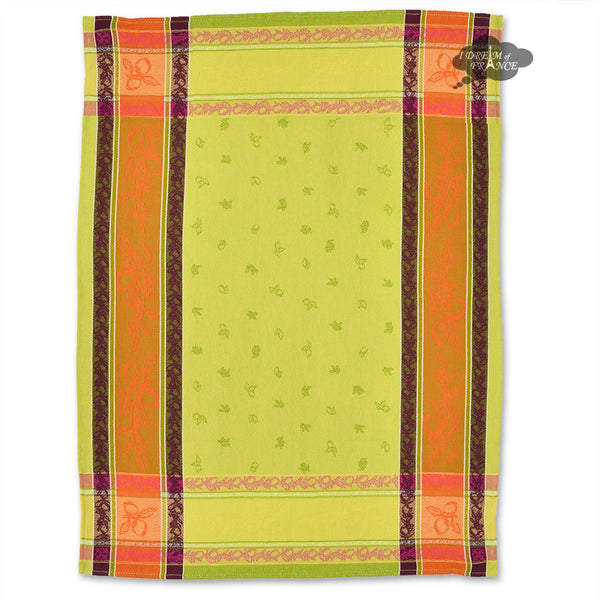 Lemon Green Cotton Jacquard Dish Towel