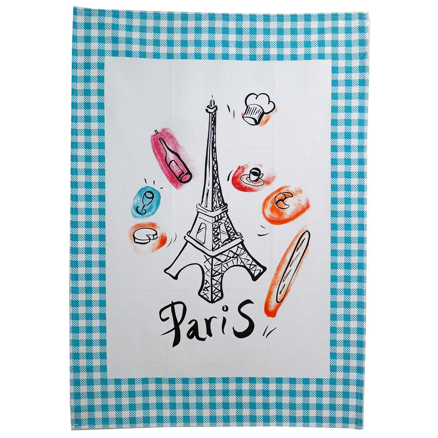 Paris Bistro Cotton Tea Towel - Set of Four Assorted Colors