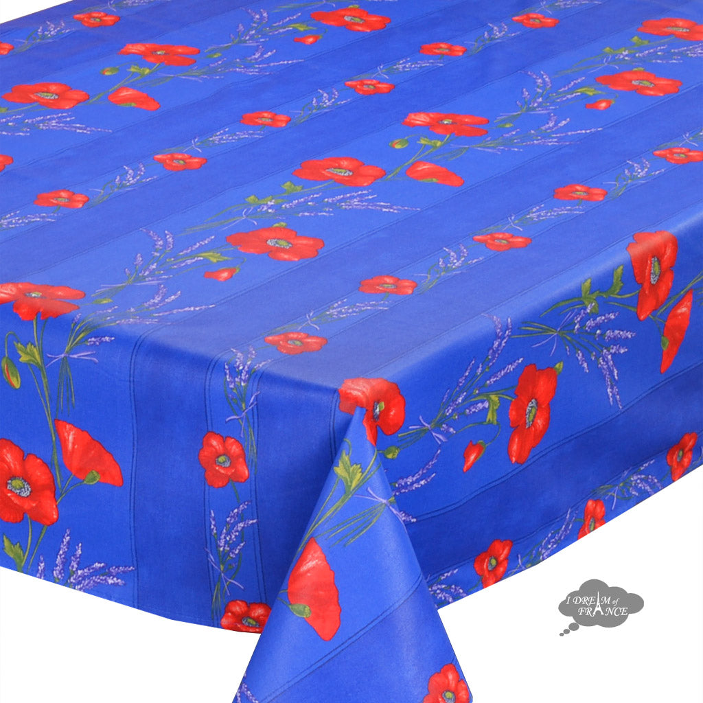60x120 rectangular poppies blue coated cotton tablecloth for Table 60x120
