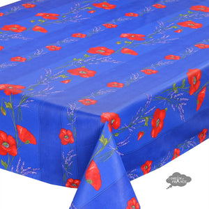 "60x120"" Rectangular Poppies Blue Coated Cotton Tablecloth by Tissus Toselli"