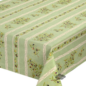 "59"" Square Clos des Oliviers Green Coated Cotton Tablecloth by l'Ensoleillade"