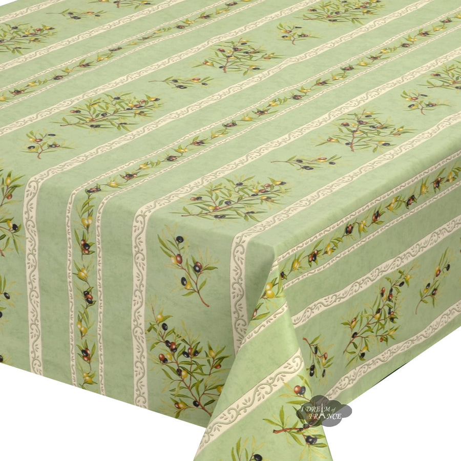 "60x138"" Rect Clos des Oliviers Green Coated Cotton Tablecloth by l'Ensoleillade"