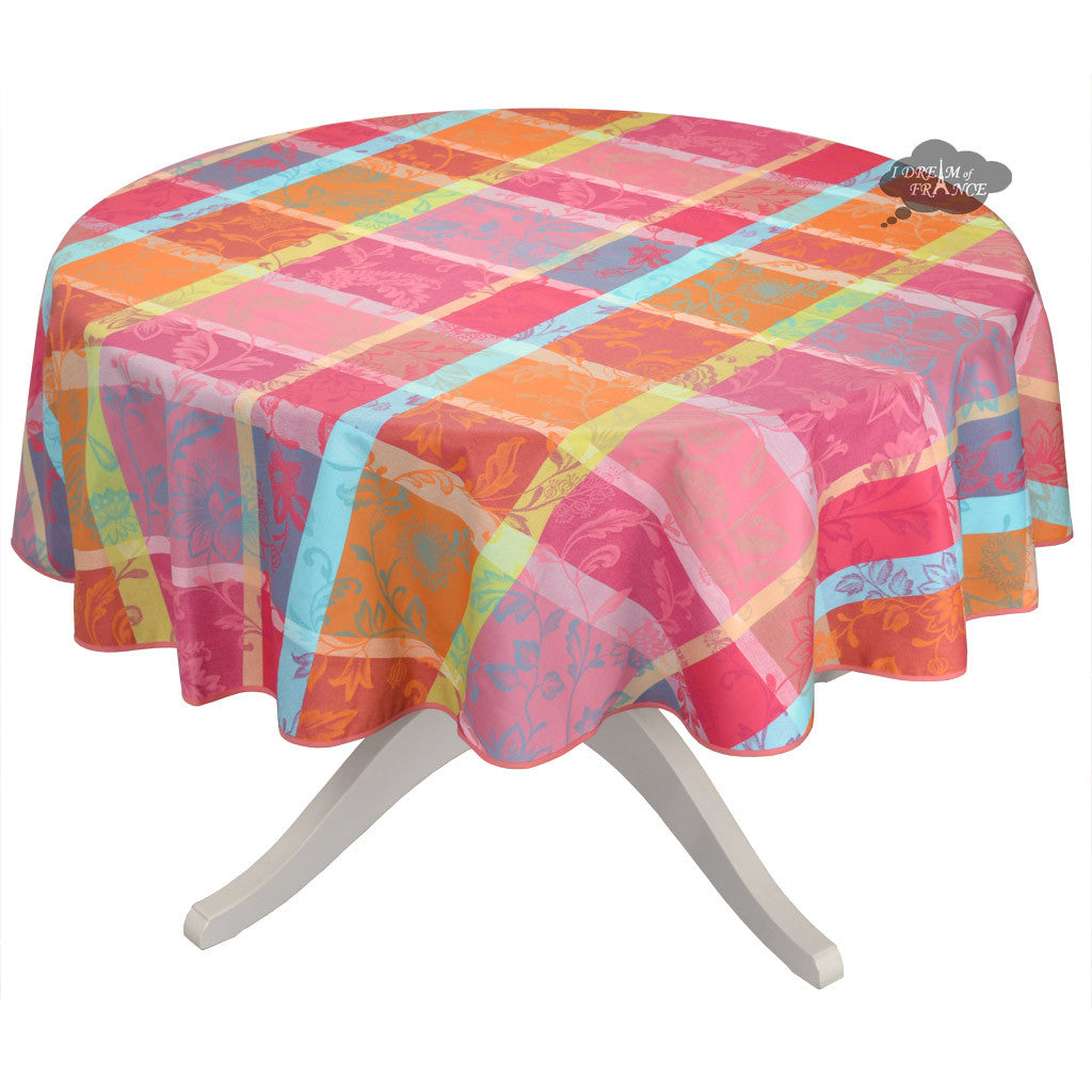 "70"" Round Florentine Pink Acrylic Coated Jacquard Tablecloth by L'Ensoleillade"
