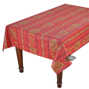 "60x120"" Rect Clos des Oliviers Red Coated Cotton Tablecloth by Tissus Toselli"