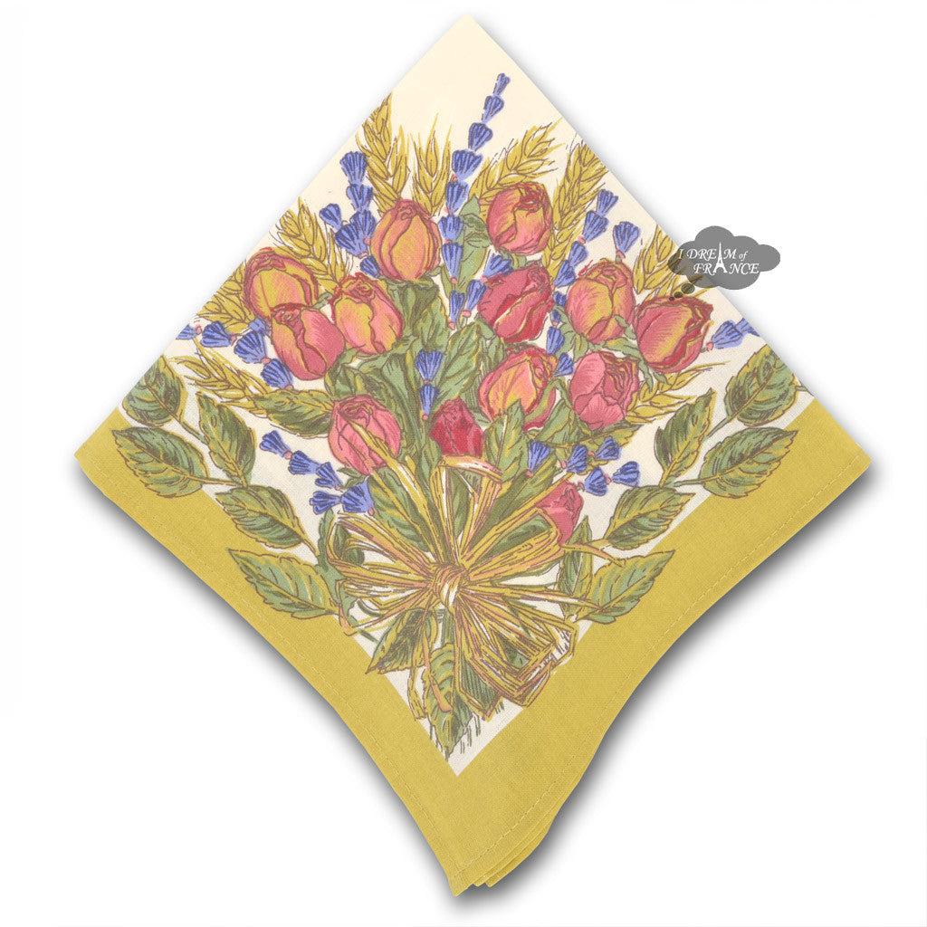 Roses and Lavender Provence Cotton Napkin by Tissus Toselli