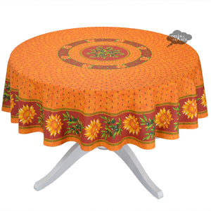 "68"" Round Sunflower Red Cotton Coated Provence Tablecloth by Le Cluny"