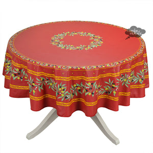 "70"" Round Ramatuelle Red Coated Cotton Tablecloth by Tissus Toselli"