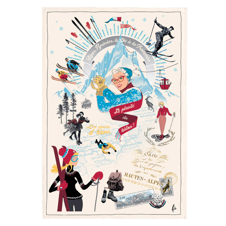Sports d'Hiver (Winter Sports) Tea Towel by Torchons et Bouchons