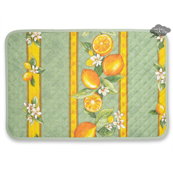 Lemons Green Acrylic Coated Quilted Placemats by Tissus Toselli