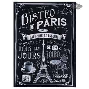 Bistro de Paris Black French Kitchen Towel by L'Ensoleillade