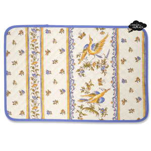 Moustiers Blue & Cream Acrylic Coated Quilted Placemats by Tissus Toselli