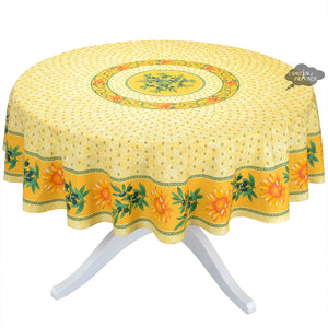 "68"" Round Sunflower Yellow Cotton Coated Provence Tablecloth by Le Cluny"