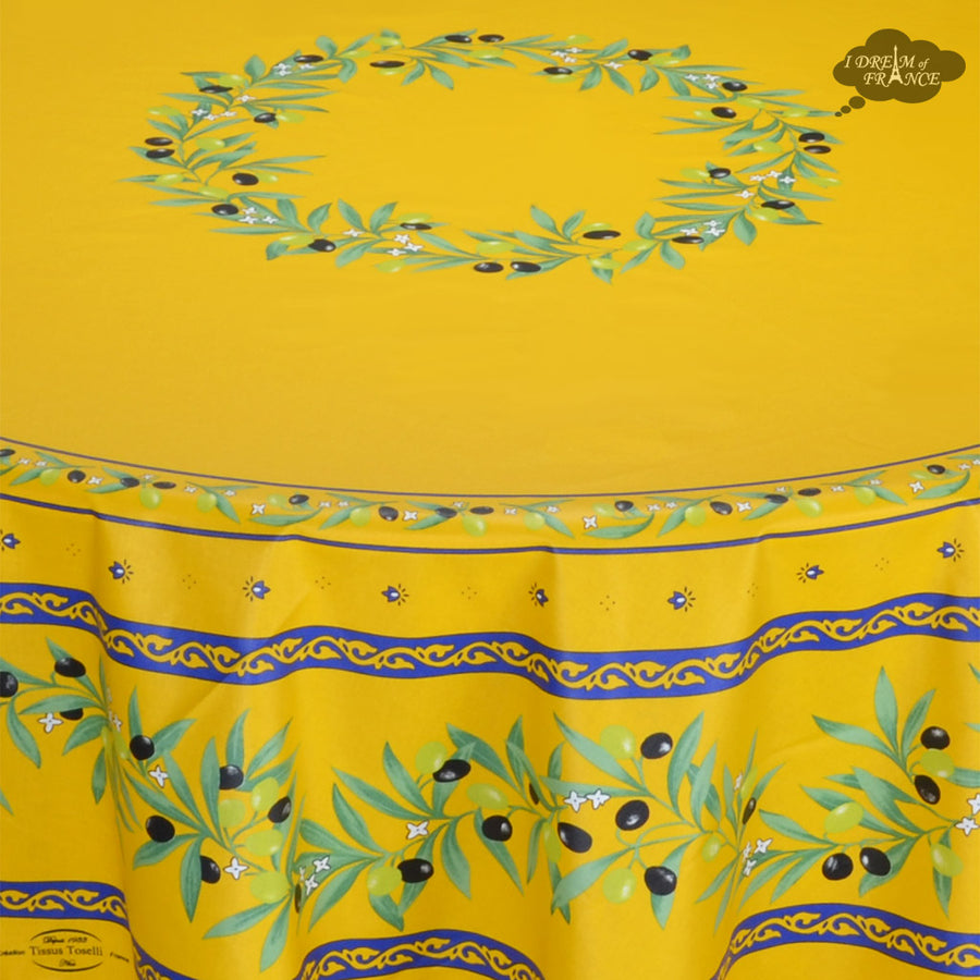 "70"" Round Ramatuelle Yellow Coated Cotton Tablecloth by Tissus Toselli"