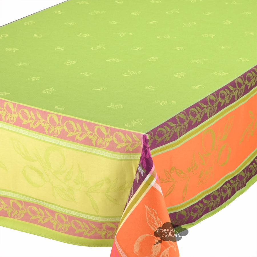 "62x138"" Rectangular Lemon Green French Jacquard Tablecloth with Teflon"