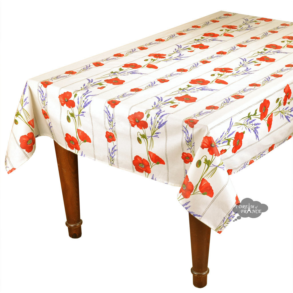 60x120 rectangular poppies cream acrylic coated cotton for Table 60x120