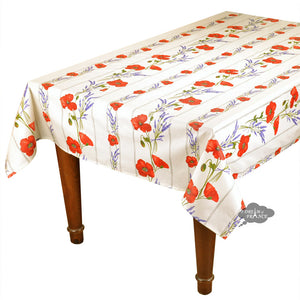 "60x120"" Rectangular Poppies Cream Acrylic Coated Cotton Tablecloth by Tissus Toselli"