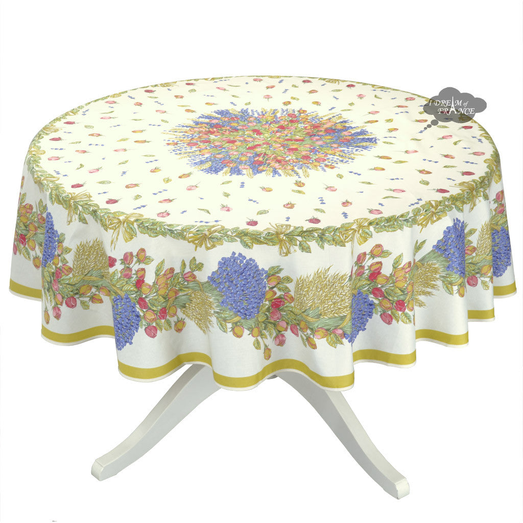 "70"" Round Roses & lavender Coated Cotton Tablecloth by Tissus Toselli"