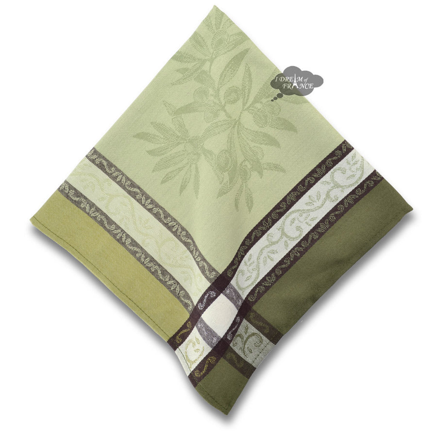 Olive Green French Cotton Jacquard Napkin