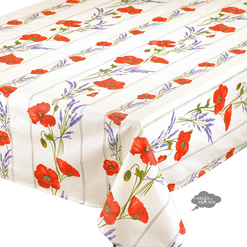 "60x120"" Rectangular Poppies Cream Acrylic Coated Cotton Tablecloth - Close Up"