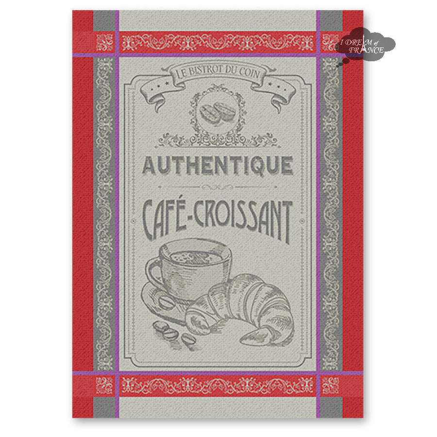 Cafe Croissant French Jacquard Kitchen Towel by Autrefois