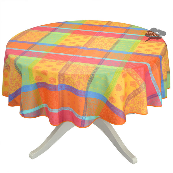 "70"" Round Valescure Multicolor Acrylic Coated Jacquard Tablecloth by L'Ensoleillade"