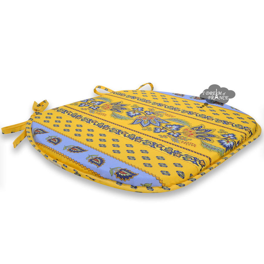 Lisa Yellow Coated French Style Chair Pad by Le Cluny