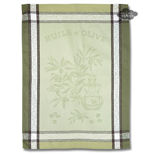 Olive Green Cotton Jacquard Dish Towel