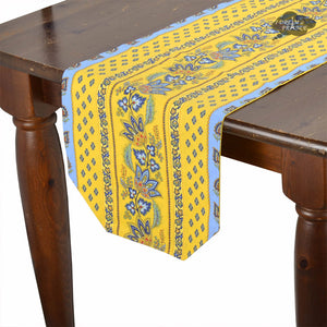 "14x72"" Lisa Yellow Cotton Coated Provence Table Runner by Le Cluny"