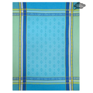 Beaulieu Turquoise Cotton French Jacquard Dish Towel