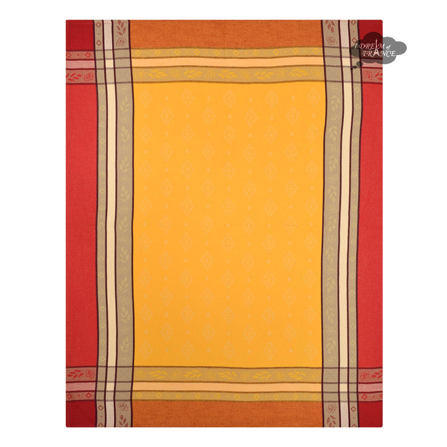 Beaulieu Yellow & Red Cotton French Jacquard Dish Towel