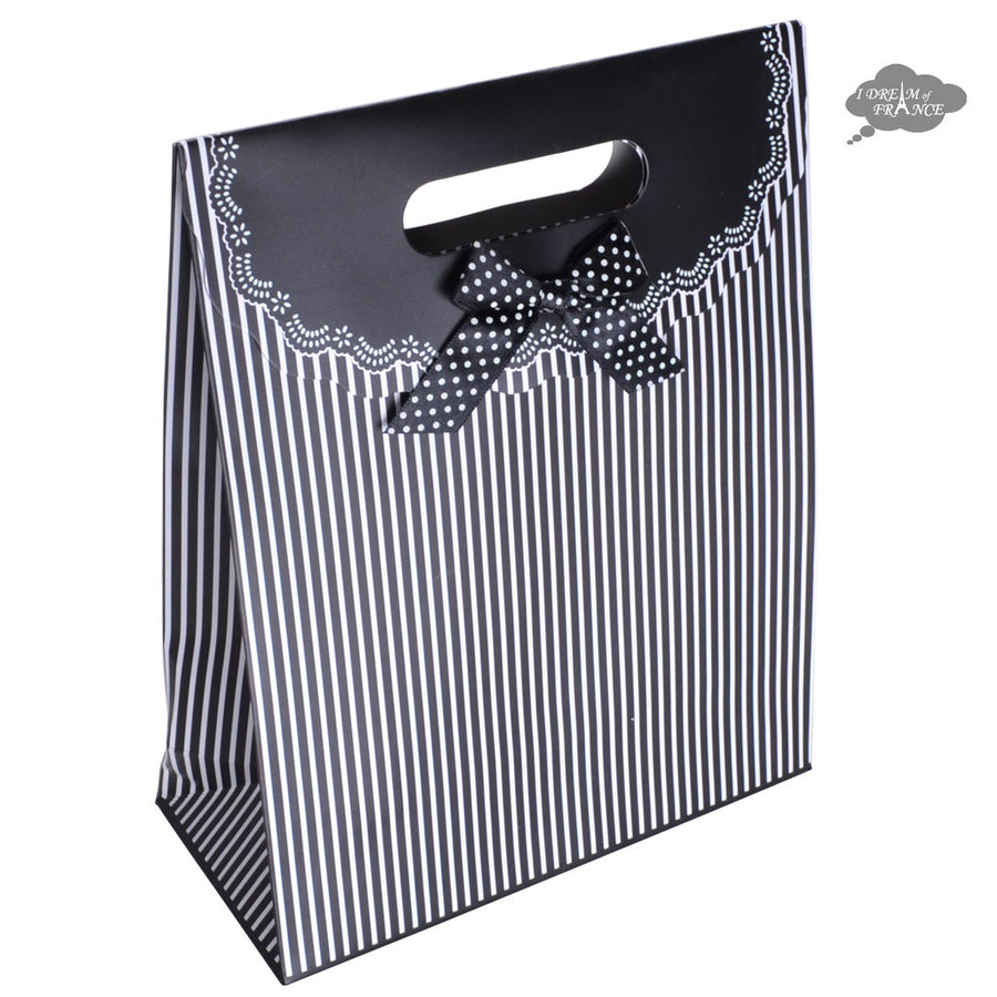 Black and White Reclosable Gift Bag with Velcro Flap