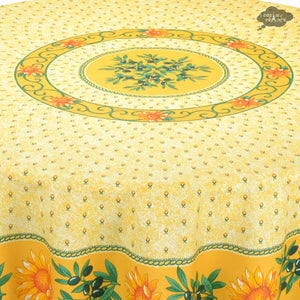 "68"" Round Sunflower Yellow Cotton Coated Provence Tablecloth - Close Up"