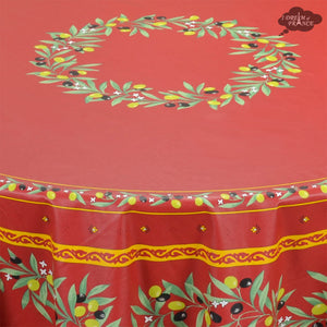 "70"" Round Ramatuelle Red Coated Cotton Tablecloth - Close Up"