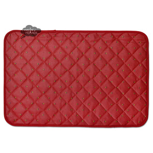 Calisson Red Acrylic Coated Quilted Placemats by Tissus Toselli