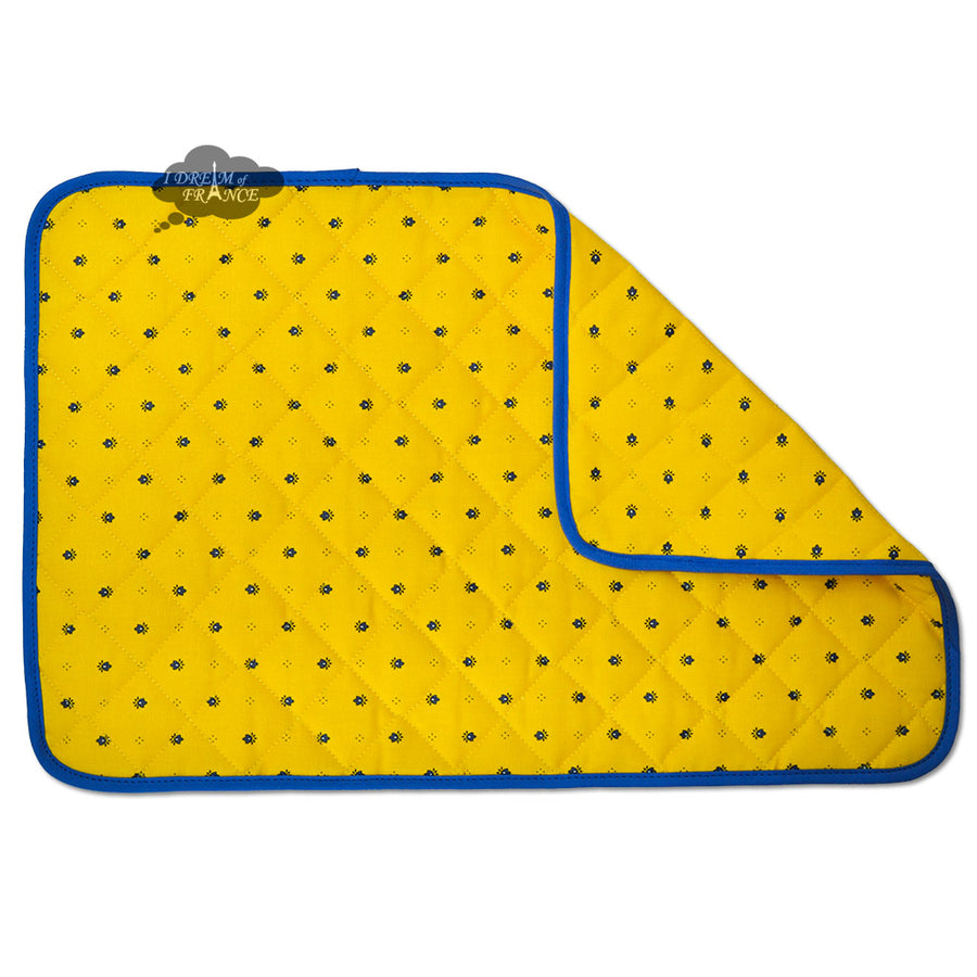 Calisson Yellow & Blue Acrylic Coated Quilted Placemats by Tissus Toselli