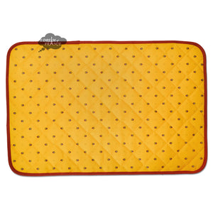 Calisson Yellow & Red Acrylic Coated Quilted Placemats by Tissus Toselli