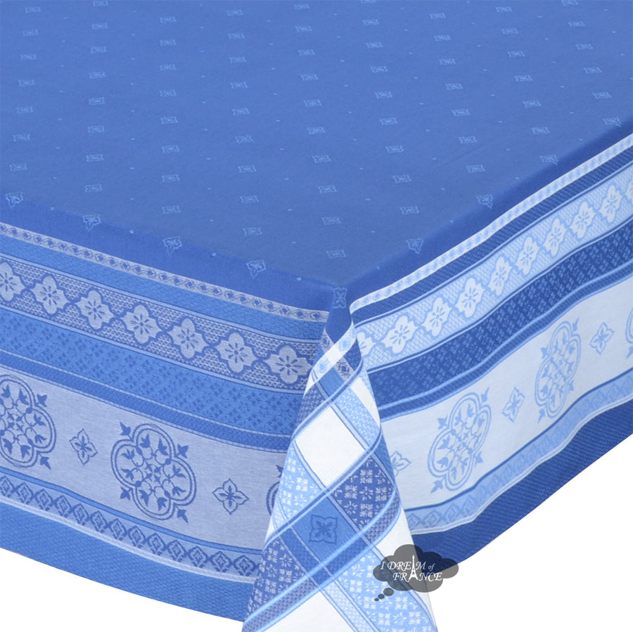 "62x138"" Rectangular Callas Blue Jacquard Cotton Tablecloth by L'Ensoleillade"