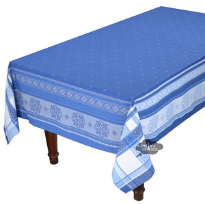 "62"" Square Callas Blue French Cotton Jacquard Tablecloth by L'Ensoleillade"