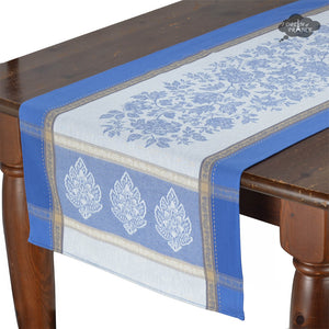 "20x58"" Caprice Blue Jacquard Cotton Table Runner with Teflon"