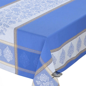 "62x120"" Rectangular Caprice Blue French Jacquard Tablecloth with Teflon"