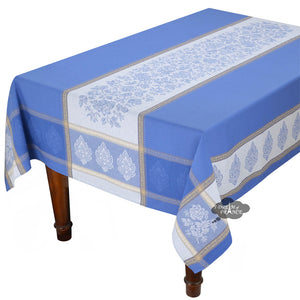 "62x138"" Rectangular Caprice Blue French Jacquard Tablecloth with Teflon"