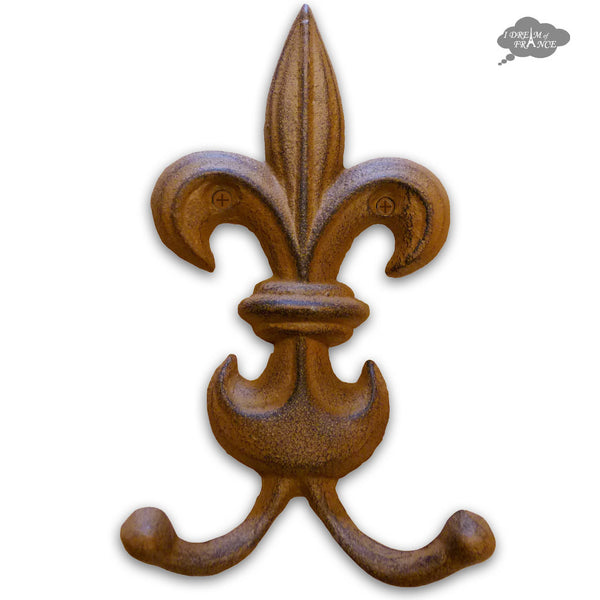 "Fleur de Lys Metal Double Wall Hook 7"" - Rust"
